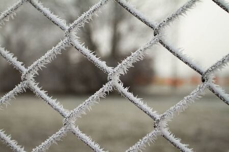 wire fence texture with hoarfrost overlay Stock Photo - 17154902