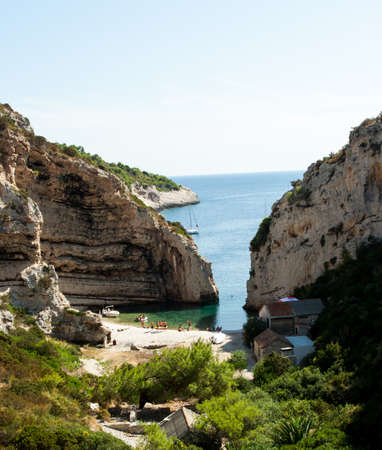 Scenic landscape about Stiniva bay in vis island Stock Photo