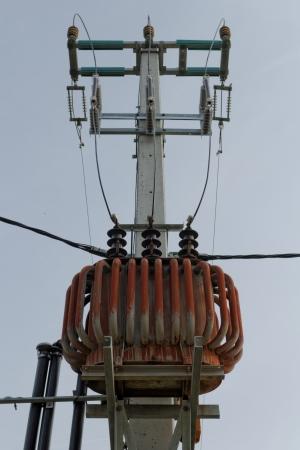 isolators: Transformer on high power station. High voltage