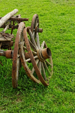 old broken wooden wheel spokes, side by chariot Stock Photo - 20105810