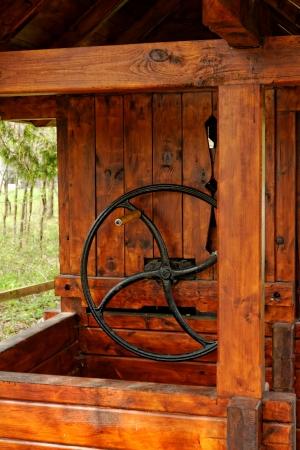 Old wooden wheel wells Stock Photo