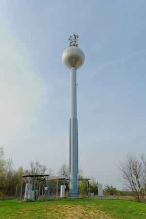 Shot of a water pressure tower made of metal and steel.