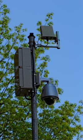 video surveillance camera on the column Stock Photo - 20096350