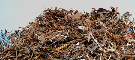 scrap metal processing industry, stacked metal photo