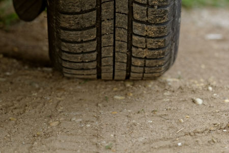 close up about car wheels on a dusty road Stock Photo - 20105707