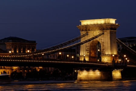 Night image with traffic of the hungarian chain Bridge