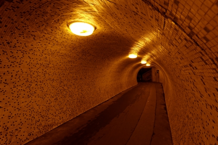 pedestrian tunnel in the night