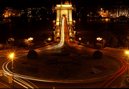 Night image with traffic of the hungarian chain Bridge extremly high donau