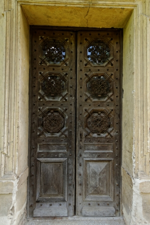 ancient wooden door on the old castle Stock Photo - 20208772