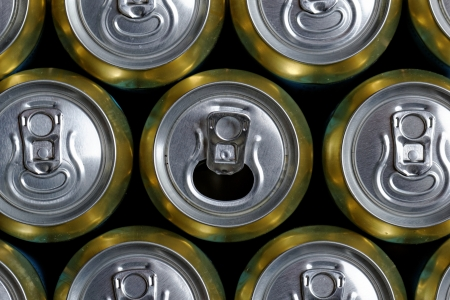 Much of drinking cans close up, one is open Stock Photo - 20437312
