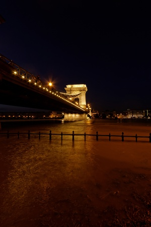 Night image with traffic of the hungarian chain Bridge extremly high donau Stock Photo - 20426957