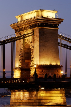 Night image with traffic of the hungarian chain Bridge