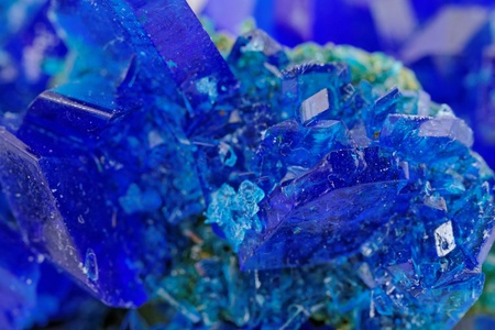 macro photo about crystals of blue vitriol - Copper sulfate