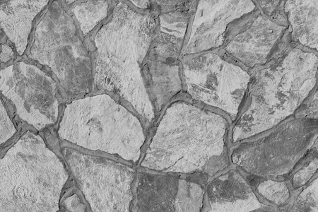 Background of a large stone wall texture (black and white) Stock Photo - 20840955