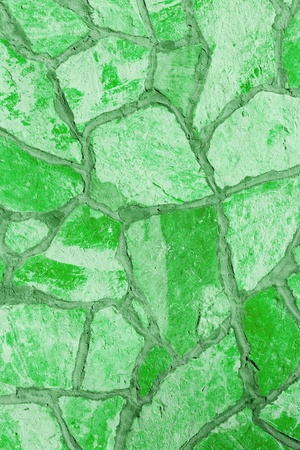 Background of a large stone wall texture (green) Stock Photo - 20840956
