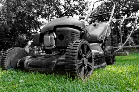 Black lawnmower in the garden lawn the grass with fuel engine bw color