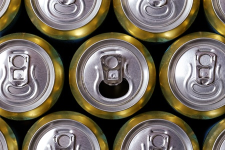 Much of drinking cans close up, one is open Stock Photo - 20914579
