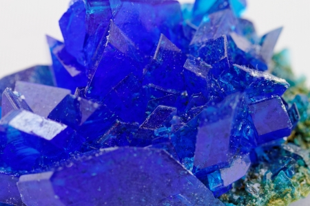 sulfate: macro photo about crystals of blue vitriol - Copper sulfate