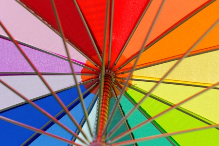 rainbow colored umbrella close-up photo