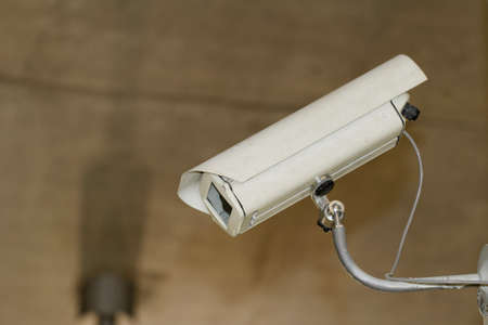 industrial white security camera in the box ( CCTV) photo