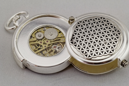 Part of a antique mechanical pocket watch on white background Stock Photo - 21387670