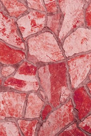 Background of a large stone wall texture (red) Stock Photo - 21387688