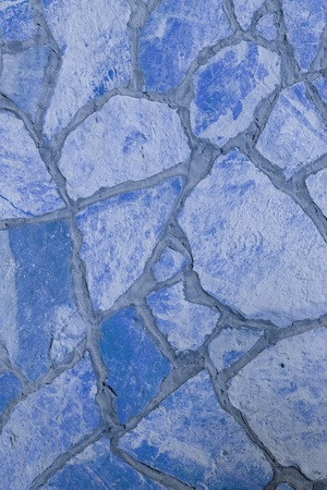 Background of a large stone wall texture (blue) Stock Photo - 21684684