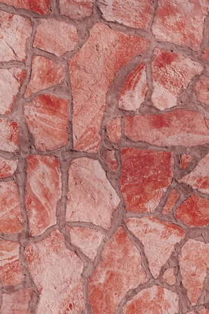 Background of a large stone wall texture (red) Stock Photo - 21684685