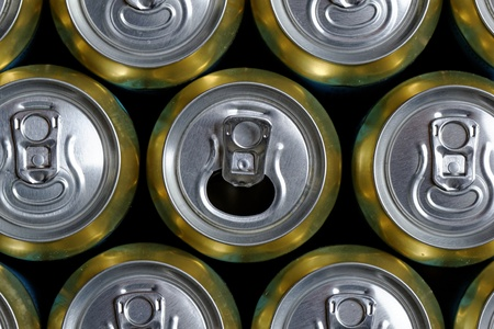 Much of drinking cans close up, one is open Stock Photo - 21810184