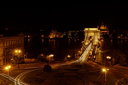 Night image with traffic of the hungarian chain Bridge extremly high donau photo