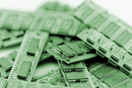 superconductor: Many different computer memory modules in green (RAM, SD, DDR, EPROM)