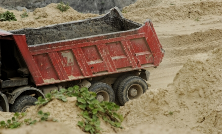 huge truck on a coal mine open pit Stock Photo - 21810813