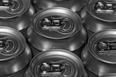 Much of drinking cans close up photo