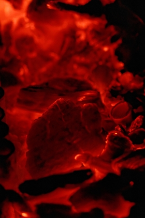 glowing embers in hot red color photo