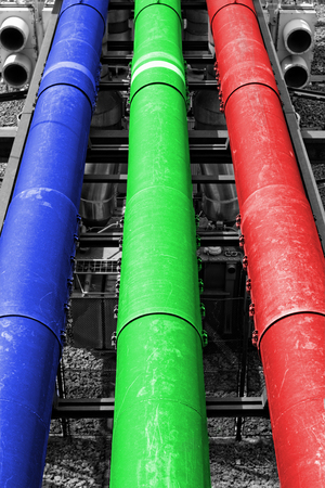 industrial pipes in a electricity power plant (RGB colors pipe) photo