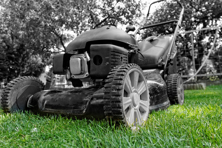 Black lawnmower in the garden lawn the grass with fuel engine in bw photo