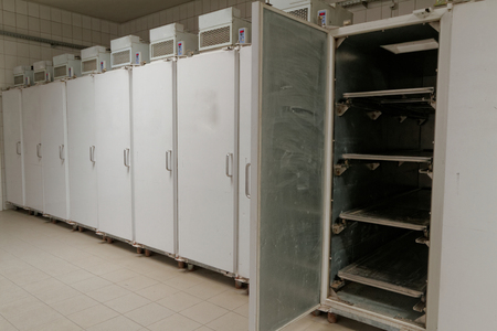toe tag: Refrigerator in morgue Stock Photo