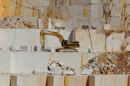 thassos: Detail of huge Thassos white marble quarry (mine) with grabber
