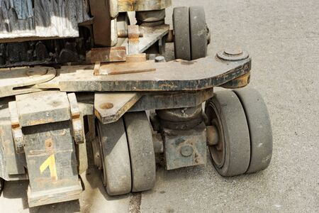 heavy load bearing carriages solid rubber wheels Stock Photo - 22881618