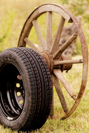 new and old broken wagon (car) wheel Stock Photo - 22881785