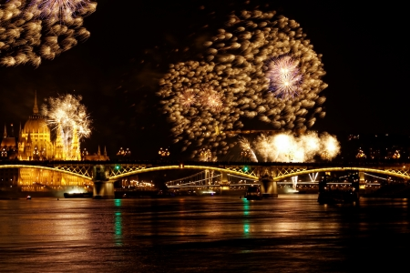budapest: beauty colorful Fireworks Against a Black Sky Stock Photo