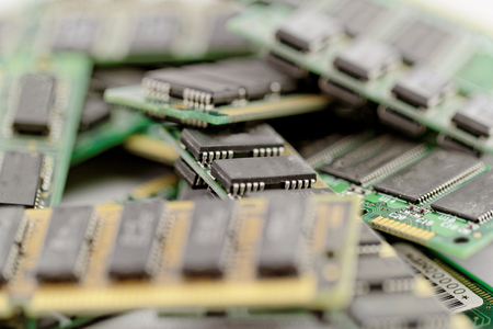 superconductor: Many different computer memory modules (RAM, SD, DDR, EPROM) Stock Photo