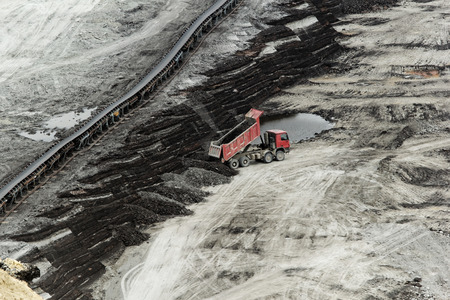 finery: huge truck on a coal mine open pit