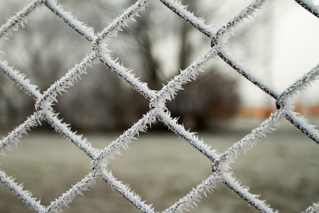 wire fence texture with hoarfrost overlay photo