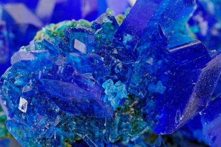 macro photo about crystals of blue vitriol - Copper sulfate photo