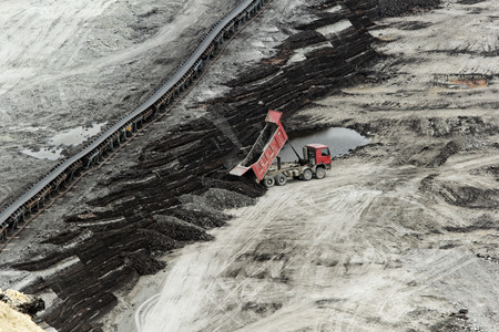 tailings: huge truck on a coal mine open pit