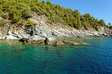 thassos: rocky beach with turquoise sea in greece thassos island