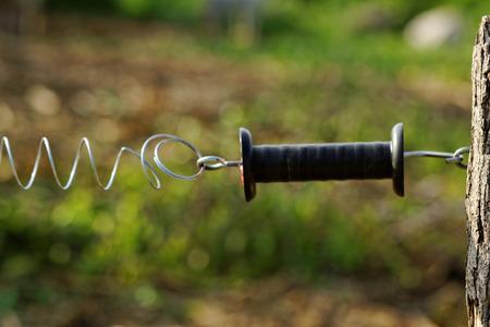 elektrischer Zaun: Close up Foto von einem Elektrozaun
