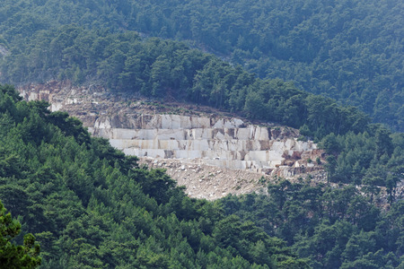 Landscape of the marble quarry in Thassos - Greece