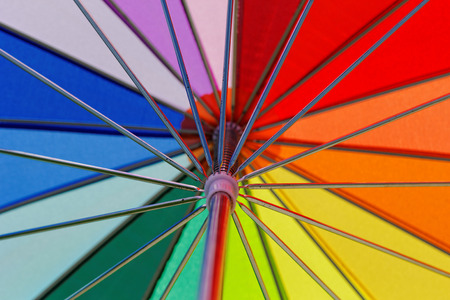 rainbow colored umbrella close-up